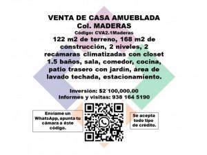VENTA DE CASA AMUEBLADA, COLONIA MADERAS