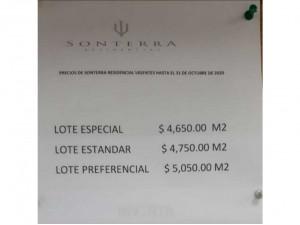 Terrenos en Sonterra Residencial desde $4,750 por m2. (...