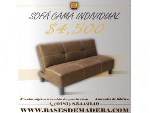 Sofá cama individual color chocolate en Monterrey