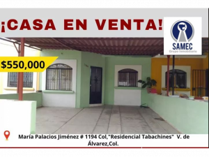 CASA EN VENTA RESIDENCIAL TABACHINES VILLA DE ALVAREZ C...