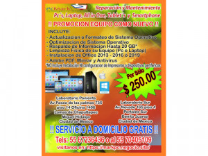 Soporte y Reparación de Computados, laptops, celulares...